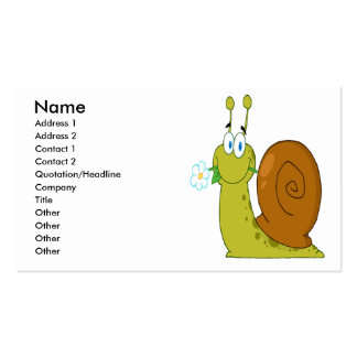 happy cartoon snail with flower business cards