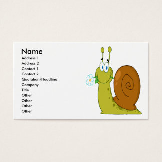 happy cartoon snail with flower business card