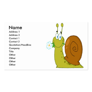 happy cartoon snail with flower pack of standard business cards