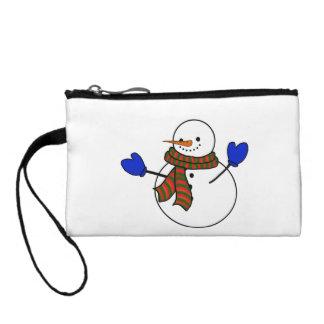 Happy Cartoon Snowman w/Blue Mittens Coin Purses
