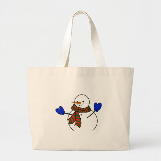 Happy Cartoon Snowman w/Blue Mittens Tote Bags