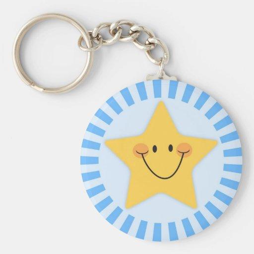 Happy cartoon star on blue keychain