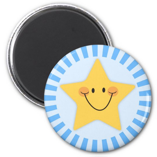 Happy cartoon star on blue magnet