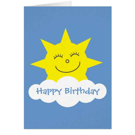 Happy cartoon sun blue Birthday card