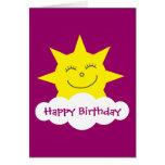 Happy cartoon sun pink birthday card