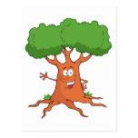 happy cartoon tree post card