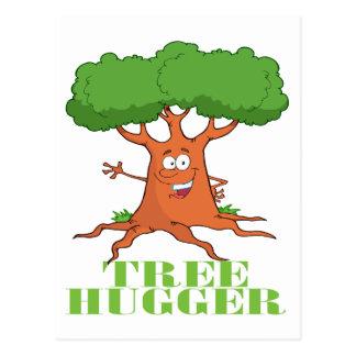 happy cartoon tree TREE HUGGER Postcard