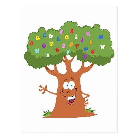 Happy Cartoon Tree Waving A Greeting Postcard