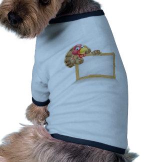 Happy Cartoon Turkey Sign Ringer Dog Shirt