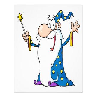 happy cartoon wizard character 21.5 cm x 28 cm flyer