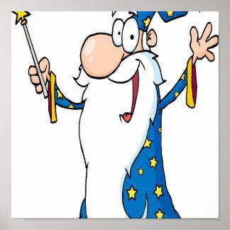 happy cartoon wizard character poster