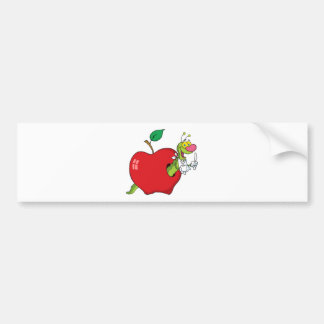 Happy Cartoon Worm In Apple Bumper Stickers