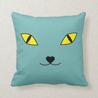 Happy cat face pillow