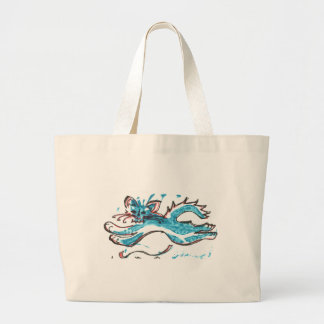 happy cat leaping large tote bag