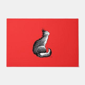 """""""Happy Cat"""" Red Door Mat"""