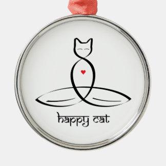 Happy Cat - Sanskrit style text. Christmas Ornament
