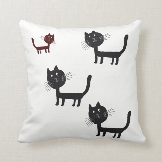 Happy Cats Lithography Throw Cushion