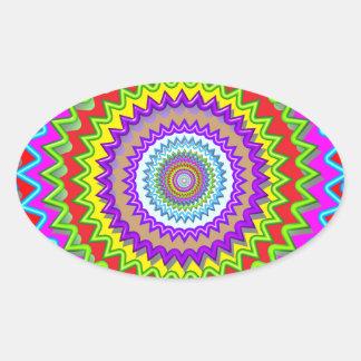 Happy Chakra Art Oval Sticker