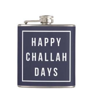 Happy Challah Days | Blue & White Funny Hanukkah Hip Flask