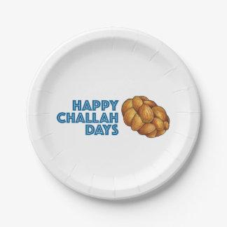 Happy Challah Days Hanukkah Chanukah Holiday Plate 7 Inch Paper Plate