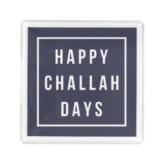 Happy Challah Days | Modern Navy & White Hanukkah Acrylic Tray