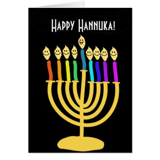 Happy Channukah Menora / Chanukia Greeting Cards
