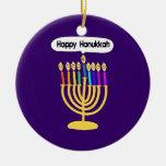 Happy Channukah Menora / Chanukia Christmas Tree Ornaments