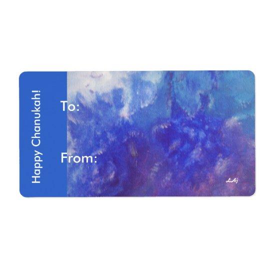 Happy Chanukah Aqua Purple Gift Stickers Shipping Label