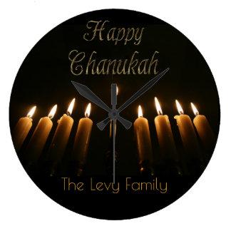 Happy Chanukah Hanukkah Lamp Menorah Light Candles Clock