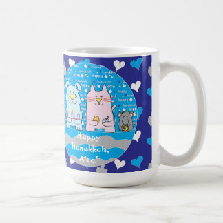 Happy Chanukah/Hanukkah PETS Blue Mug
