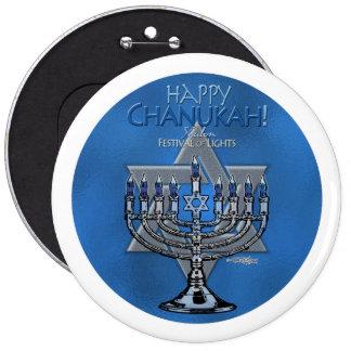 Happy Chanukah - Menora & Star of David 6 Cm Round Badge