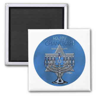 Happy Chanukah - Menora & Star of David Magnet