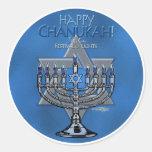 Happy Chanukah - Menora & Star of David Round Sticker