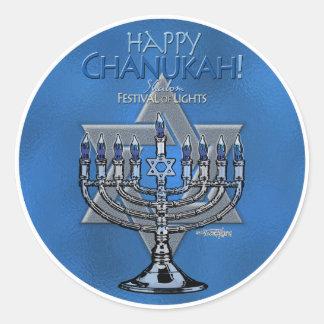 Happy Chanukah - Menora & Star of David Round Stickers