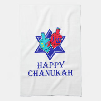Happy Chanukah Star & Dreidel Tea Towel