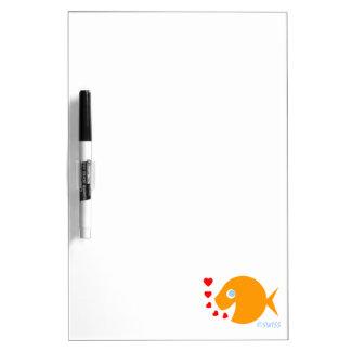 Happy Cheerful Cartoon Goldfish Blowing Kisses Dry Erase Whiteboard