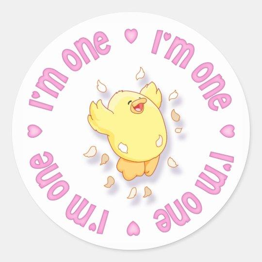 Happy Chick 1st Birthday Pink Classic Round Sticker