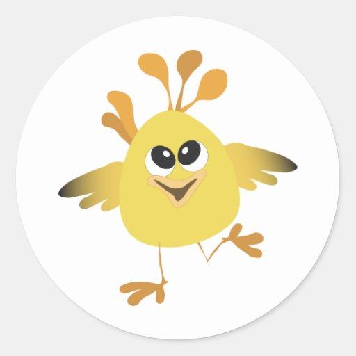 Happy Chick Round Sticker