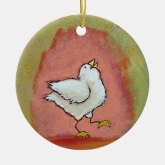 Happy chicken painting fun cute modern folk art christmas ornament
