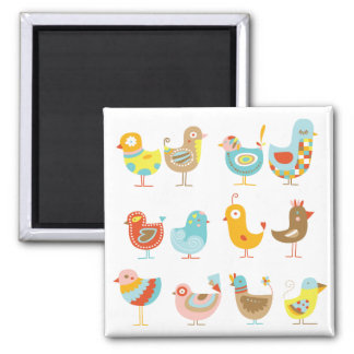 Happy Chickens Square Magnet