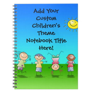 Happy Children Play in Sun, Kids Outdoors Notebook