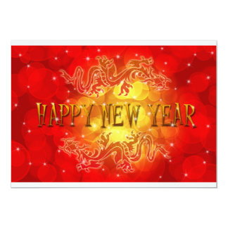 Happy Chinese New Year Dragons Greeting Card 13 Cm X 18 Cm Invitation Card