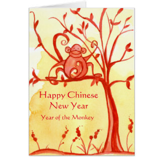Happy Chinese New Year Of The Monkey Peace Greeting Card
