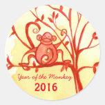Happy Chinese New Year Of The Monkey Round Sticker