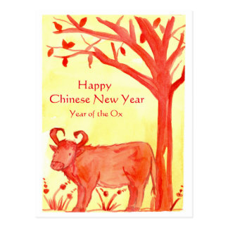 Happy Chinese New Year Of The Ox Watercolor Postcard
