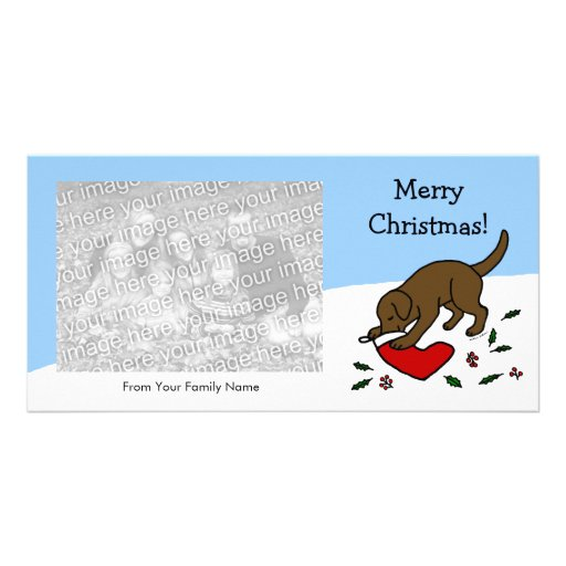 Happy Chocolate Lab Christmas Cartoon Picture Card