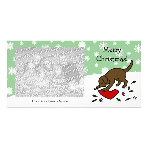 Happy Chocolate Lab Christmas Snowflakes Picture Card