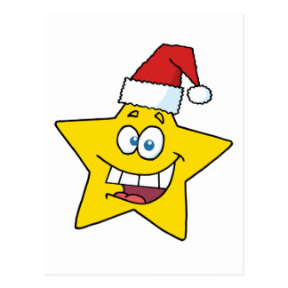 Happy Chrismas Star Smiling Postcard
