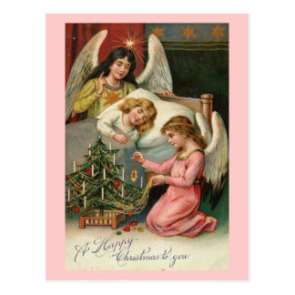 Happy Christmas Angels with Sleeping Child Pink Post Cards