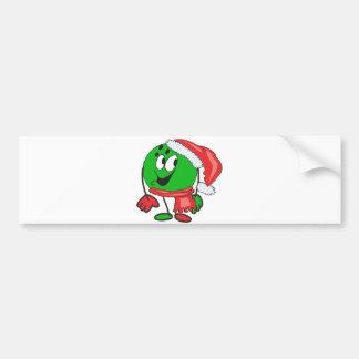Happy christmas bowling ball wearing a santa cap bumper sticker